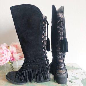 NAUGHTY MONKEY Zarape Fringe Tassel Boots New 6